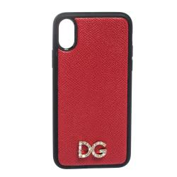 Dolce & Gabbana Red/Black Leather Logo Plaque iPhone X Cover
