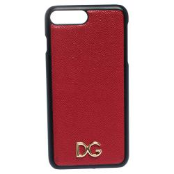 Dolce & Gabbana Red Leather Logo Plaque iPhone 7 Plus Cover