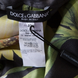 Dolce and Gabbana Sunflower and Leopard Printed Silk Kaftan Maxi Dress S