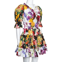 Dolce & Gabbana Multicolor Floral Printed Cotton Puff Sleeve Dress S