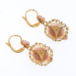 Dolce & Gabbana Mamma Pink Opal 18k Yellow Gold Earrings