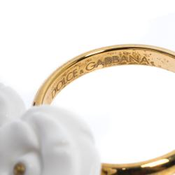 Dolce & Gabbana Mamma White Opal 18k Yellow Gold Ring Size 50