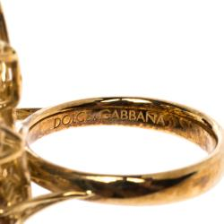 Dolce & Gabbana Primavera Multi Gemstone 18k Yellow Gold Ring (Free Size)