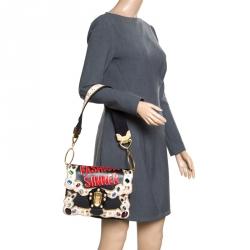 de3ebcfa3ea8 Dolce and Gabbana Black Dusty Pink Leather Lucia Crystal Embellished  Shoulder Bag