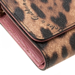 Dolce and Gabbana Brown Leopard Print Coated Canvas Dauphine Wallet On Chain