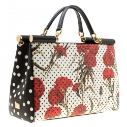 Dolce and Gabbana Multicolor Floral Printed Leather Miss Sicily Top Handle Bag