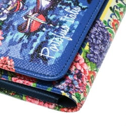 Dolce and Gabbana Multicolor Printed Leather Sicily Von Smartphone Bag
