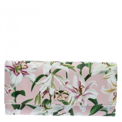 Dolce and Gabbana Multicolor Lilium Print Leather Continental Wallet