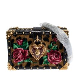 Dolce & Gabbana Multicolor Leopard Print Velvet/Snakeskin My Heart Clutch