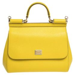 Dolce & Gabbana Yellow Leather Medium Miss Sicily Bag