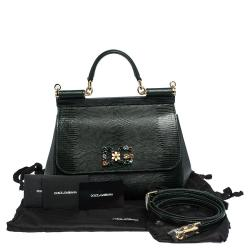 Dolce & Gabbana Green Iguana Embossed Leather Crystal DG Logo Medium Miss Sicily Bag