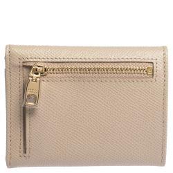Dolce & Gabbana Beige Leather Trifold Wallet