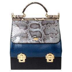 Dolce & Gabbana Multicolor Python/Iguana Embossed Leather Sicily Box Bag