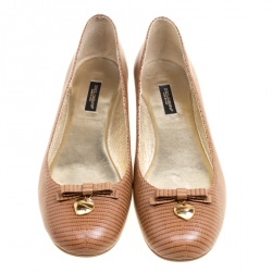 Dolce and Gabbana Brown Embossed Lizard Leather Bow Detail Ballet Flats Size 41