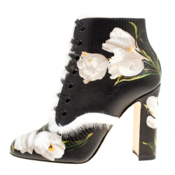 e63fe7df944 Dolce and Gabbana Black Pebbled Tulip Print Leather Rabbit Fur Trim Ankle  Boots Size 37