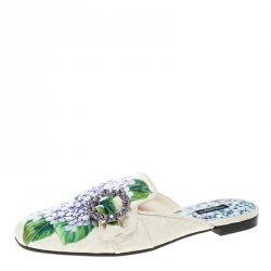 Dolce and Gabbana Hydrangea Print Jackie Crystal Embellished Buckle Flat Mules Size 40