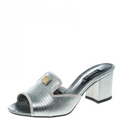 a4367e906507 Dolce and Gabbana Metallic Silver Lizard Leather Peep Toe Mules Size 36.5