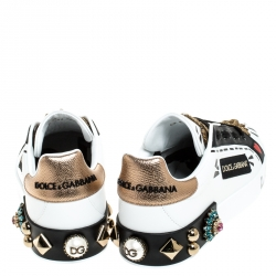 Dolce & Gabbana White/Black Leather Portofin Embellished Low Top Sneakers Size 37