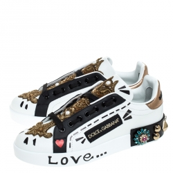Dolce and Gabbana White/Black Leather Portofin Embellished Low Top Sneakers Size 38