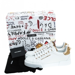Dolce and Gabbana White/Gold Leather Portofino Pearl Embellished Low Top Sneakers Size 38