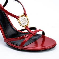 Dolce and Gabbana Red Leather Strappy Sandals Size 39