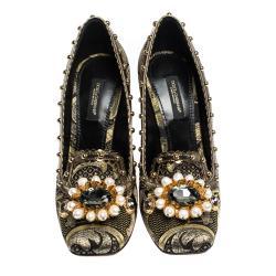 Dolce & Gabbana Black Leaf Brocade Leather Bejeweled Embellishment Block Heel Pumps Size 36