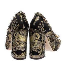 Dolce & Gabbana Black Leaf Brocade Leather Bejeweled Embellishment Block Heel Pumps Size 37