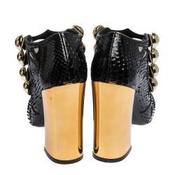 Dolce & Gabbana Black Python and Mesh Mary Jane Block Heel Pumps Size 41