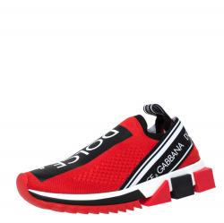 Dolce & Gabbana Red Stretch Jersey Logo Print Slip On Sneakers Size 38.5