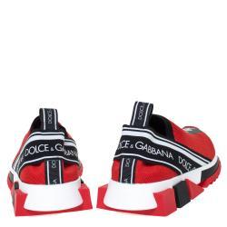 Dolce & Gabbana Red Stretch Jersey Logo Print Slip On Sneakers Size 40.5
