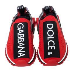Dolce & Gabbana Red Stretch Jersey Logo Print Slip On Sneakers Size 41
