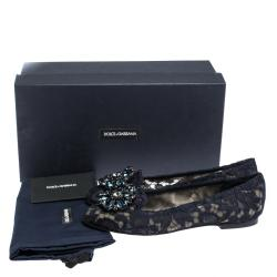 Dolce & Gabbana Blue Lace Jeweled Embellishment Ballet Flats Size 35