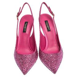 Dolce & Gabbana Pink Satin Crystals Slingback Pointed Toe Pumps Size 38
