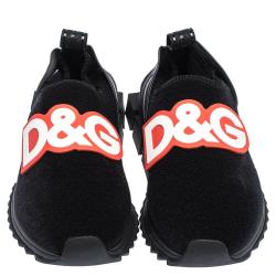 Dolce & Gabbana Black Stretch Technical Fabric DG Patch Slip On Sneakers Size 36