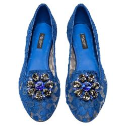Dolce & Gabbana Blue Lace Jeweled Embellishment Ballet Flats Size 39.5