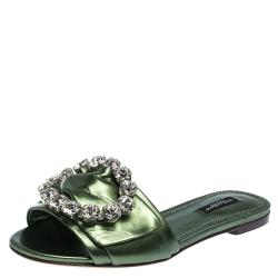 Dolce & Gabbana Green Leather Jeweled Embellished Flat Slides Size 39