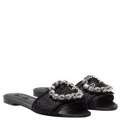 Dolce & Gabbana Black Woven Raffia Jeweled Embellished Flat Slides Size 38