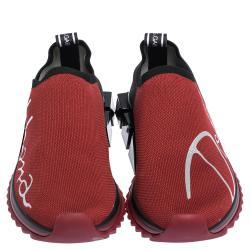 Dolce & Gabbana Red/Black Stretch Jersey Logo Print Slip On Sneakers Size 37.5