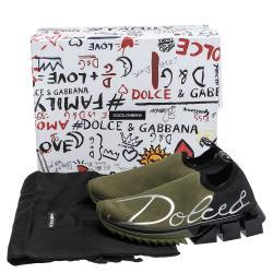 Dolce & Gabbana Military Green/Black Stretch Jersey Logo Print Slip On Sneakers Size 37