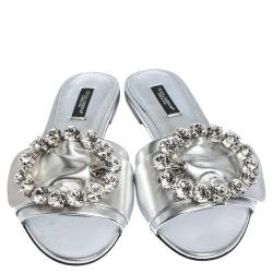 Dolce & Gabbana Silver Leather Jeweled Embellished Flat Slides Size 37