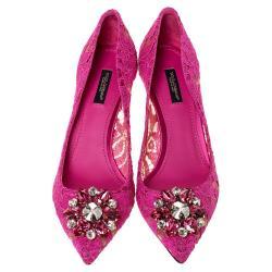 Dolce & Gabbana Fuchsia Lace Jeweled Embellishment Pointed Toe Pumps Size 36