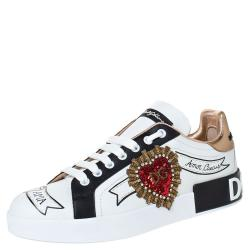 Dolce & Gabbana White Leather Logo Embellished Lace Up Sneakers Size 42
