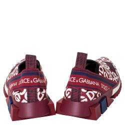 Dolce & Gabbana Multicolor DG Mania Print Stretch Mesh Slip On Sneakers Size 37