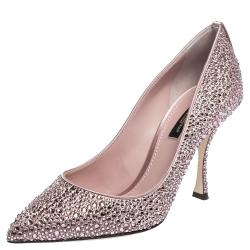 Dolce & Gabbana Pink Satin Crystals Pointed Toe Pumps Size 39