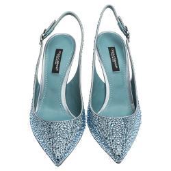 Dolce & Gabbana Light Blue Satin Crystals Slingback Pointed Toe Pumps Size 37