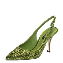 Dolce & Gabbana Green Satin Crystals Slingback Pointed Toe Pumps Size 37