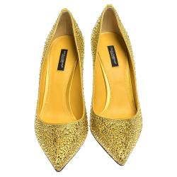 Dolce & Gabbana Yellow Satin Crystals Pointed Toe Pumps Size 38