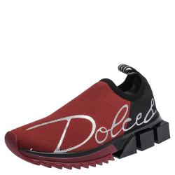 Dolce & Gabbana Red/Black Stretch Jersey Logo Print Slip On Sneakers Size 38.5