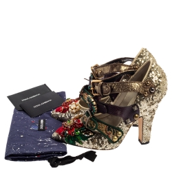 Dolce & Gabbana Multicolor Sequins/Lurex and Leather Multi Buckle Pumps Size 37