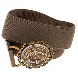 Dolce and Gabbana Dark Beige Canvas Elastic Heritage Waist Belt 75 CM
